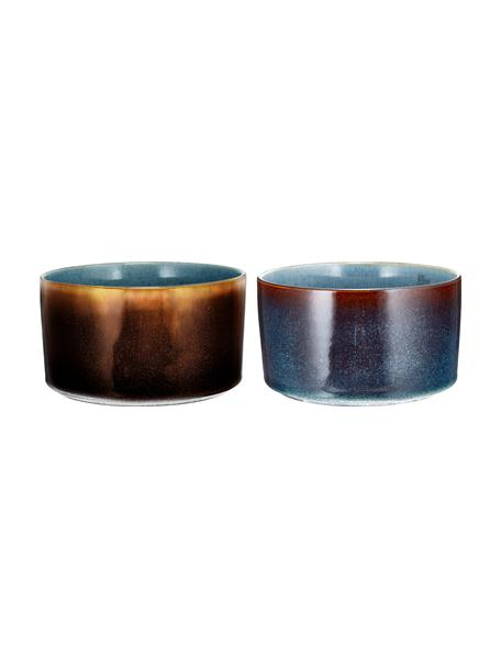 Cuencos artesanales Quintana Amber, 2uds., Porcelana, Azul, marrón, Ø 14 cm