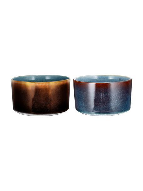 Handgemaakte kommen Quintana amber met kleurverloop, 2 stuks, Porselein, Blauw, bruin, Ø 14 cm
