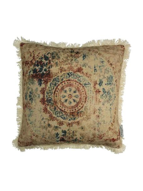 Cojín con flecos Orient, con relleno, Funda: 100%algodón, Beige, multicolor, An 45 x L 45 cm