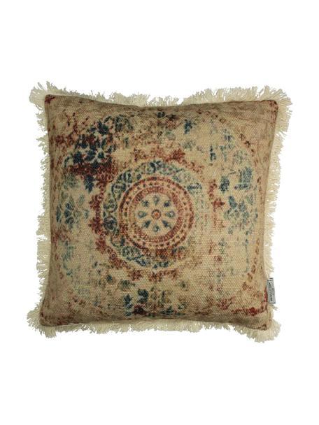 Kissen Orient mit Fransenabschluss, mit Inlett, Bezug: Baumwolle, Beige, Mehrfarbig, 45 x 45 cm