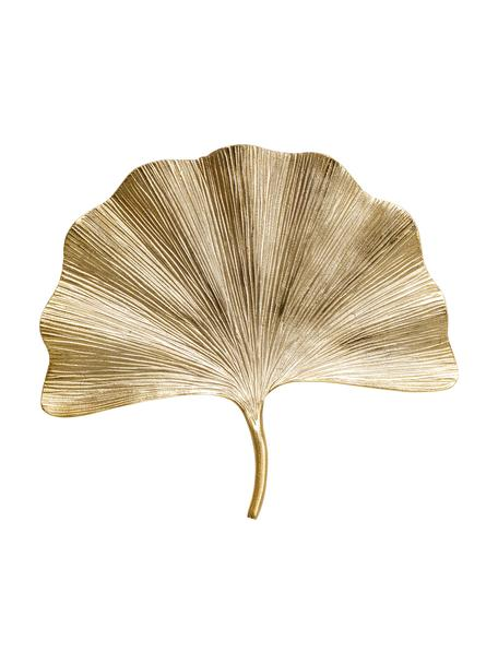 Wandobjekt Ginkgo Leaf, Aluminium, vernickelt, Goldfarben, 50 x 44 cm