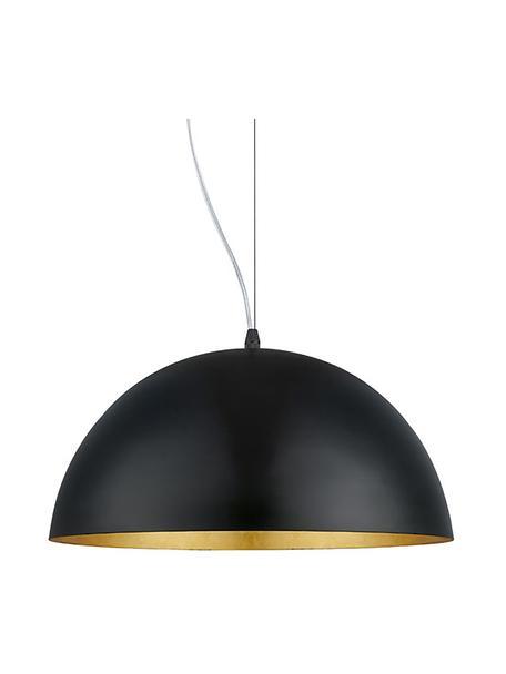 Lampada a sospensione con decoro dorato Brad, Baldacchino: metallo verniciato a polv, Paralume: metallo verniciato a polv, Nero, Ø 38 x Alt. 18 cm