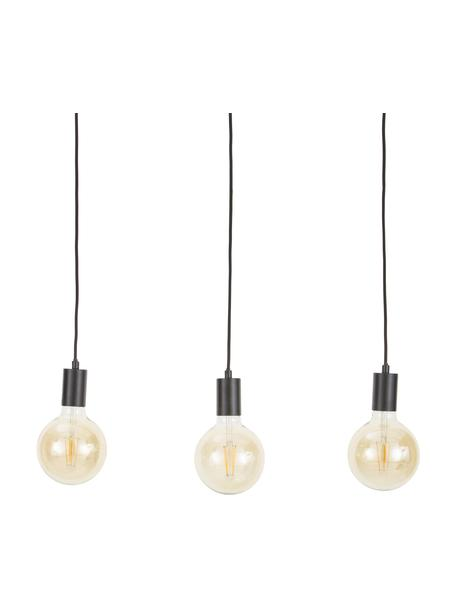 Lámpara de techo Dina, Estructura: metal con pintura en polv, Anclaje: metal con pintura en polv, Cable: cubierto en tela, Negro, An 60 x F 6 cm