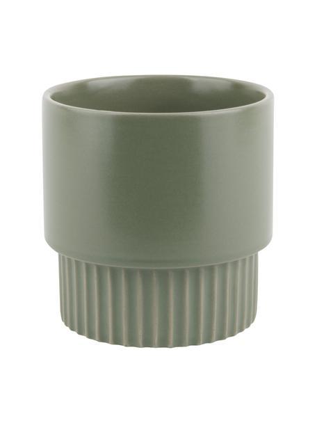 Portavaso moderno in ceramica Ribbed, Ceramica, Verde, Ø 13 x Alt. 14 cm