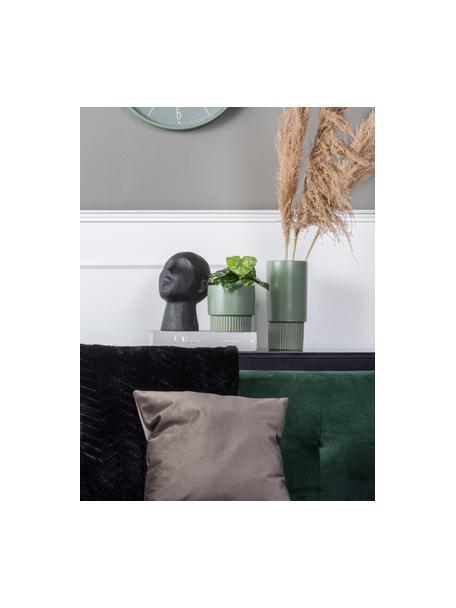 Macetero de cerámica Ribbed, Cerámica, Verde, Ø 13 x Al 14 cm