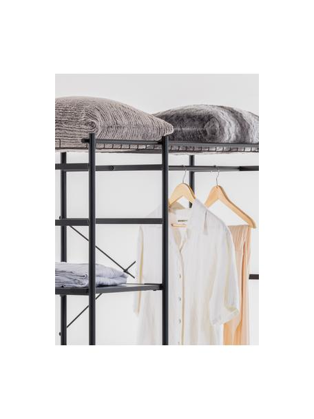 Open metalen kledingkast Storn in zwart, Frame: gelakt metaal, Plank: spaanplaat, Zwart, 120 x 182 cm