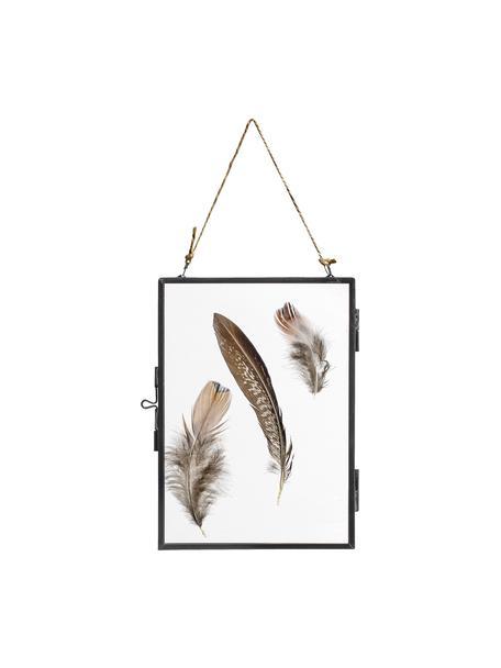 Bilderrahmen Pioros mit Federn, Rahmen: Metall, beschichtet, Front: Glas, Schwarz, Transparent, 13 x 18 cm