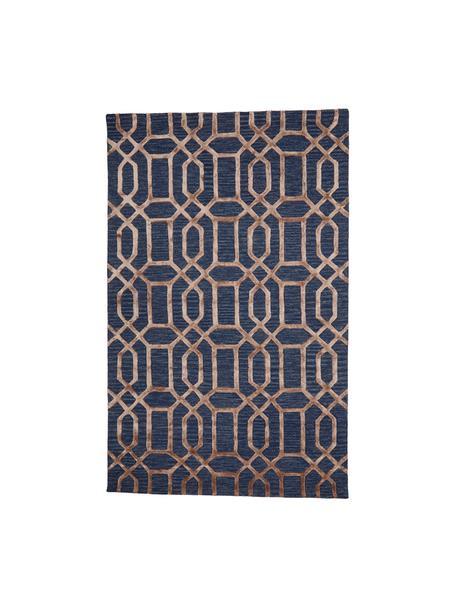 Alfombra artesanal de lana Vegas, Parte superior: 80%lana, 20%viscosa, Reverso: algodón, Azul oscuro, marrón, An 120 x L 185  cm(Tamaño S)