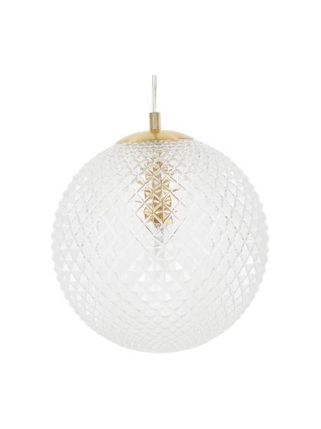 Lámpara de techo pequeña de vidrio Lorna, Anclaje: metal galvanizado, Cable: plástico, Transparente, Ø 25 cm
