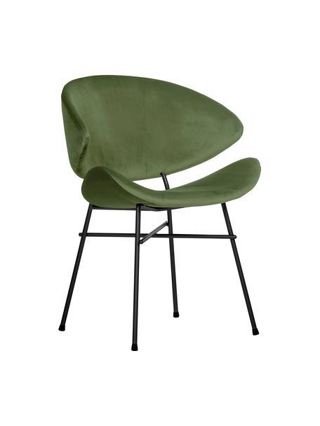 Sedia imbottita in velluto idrorepellente verde Cheri, Rivestimento: 100% poliestere (velluto), Verde, nero, Larg. 57 x Prof. 55 cm
