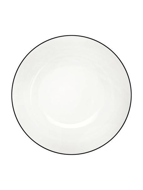 Talerz deserowy á table ligne noir, 4 szt., Porcelana chińska Porcelana chińska Fine Bone China to miękka porcelana wyróżniająca się wyjątkowym, półprzezroczystym połyskiem, Biały Krawędź: czarny, Ø 21 cm