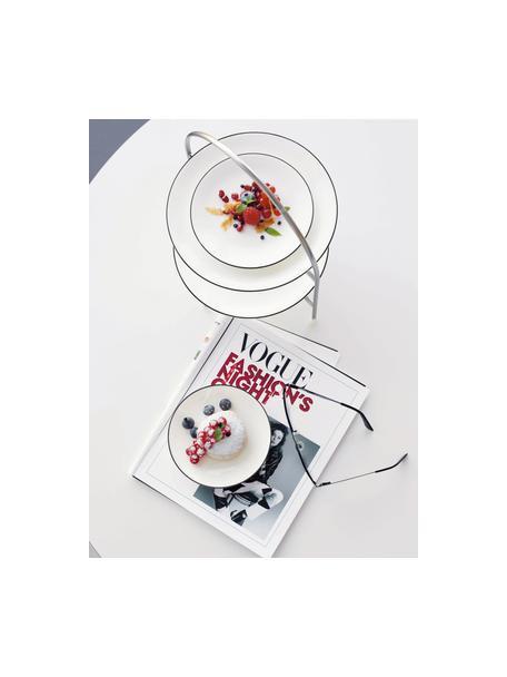 Dessertborden à table ligne noir met zwarte rand, 4 stuks, Beenderporselein (porselein) Fine Bone China is een zacht porselein, dat zich vooral onderscheidt door zijn briljante, doorschijnende glans., Wit. Rand: zwart, Ø 21 cm