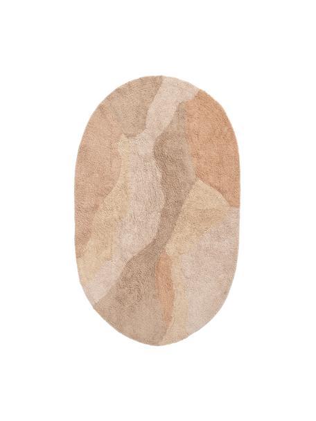 Ovale katoenen vloerkleed met patroon Malva in beige tinten, 100% katoen, Beigetinten, B 90 x L 150 cm (maat XS)