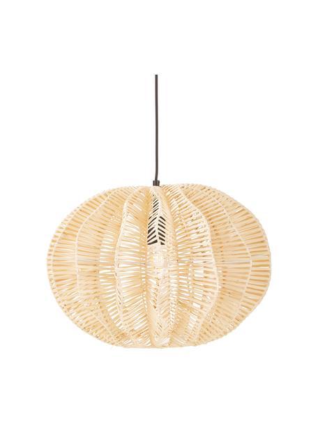 Lámpara de techo de ratán Ufe, Pantalla: ratán, Anclaje: metal con pintura en polv, Cable: cubierto en tela, Beige, Ø 50 x Al 38 cm