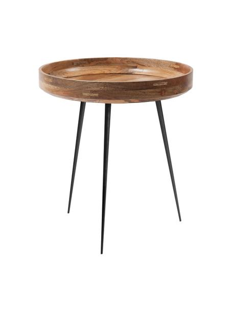 Design bijzettafel Bowl Table van mangohout, Tafelblad: gelakt mangohout, Poten: gepoedercoat staal, Naturel, zwart, Ø 46 x H 52 cm