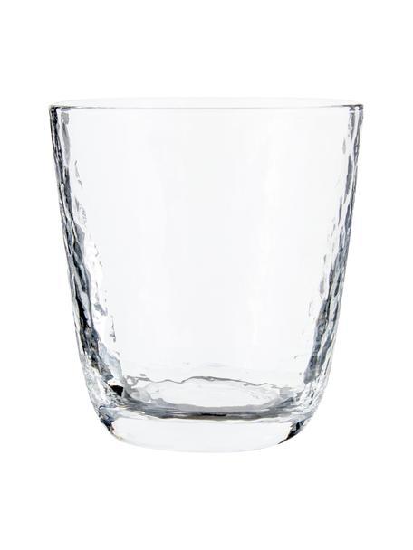 Bicchiere acqua in vetro soffiato Hammered 4 pz, Vetro soffiato, Trasparente, Ø 9 x Alt. 10 cm