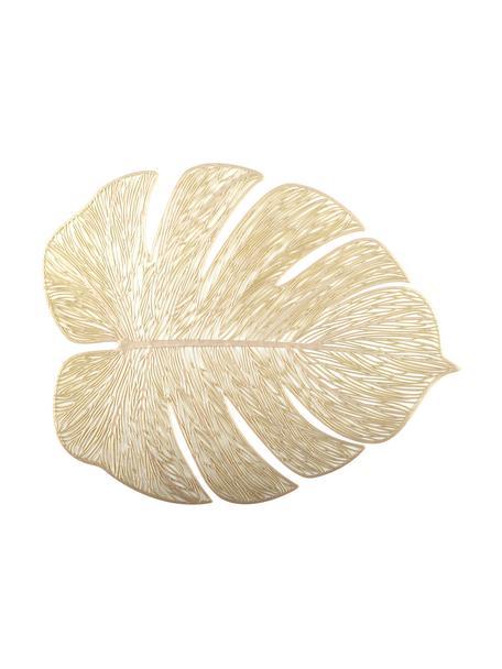 Goudkleurige kunststoffen placemats Leaf in bladvorm, 2 stuks, Kunststof, Goudkleurig, 33 x 40 cm