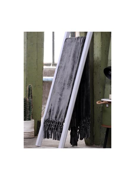 Plaid morbido con finitura a frange Bishop, 100% polietilene, Antracite, Larg. 130 x Lung. 160 cm