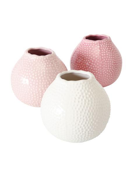 Set 3 vasi decorativi in gres Tessa, Gres, Rosa, bianco, Ø 13 x Alt. 13 cm