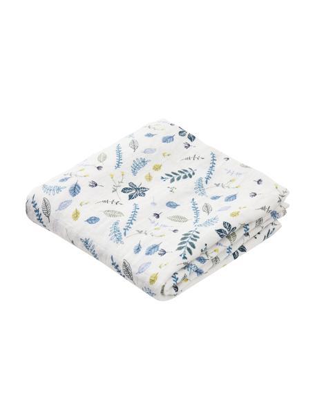 Pieluszka tetrowa z bawełny organicznej Pressed Leaves, 2 szt., 100% bawełna organiczna, Biały, niebieski, szary, żółty, S 70 x D 70 cm