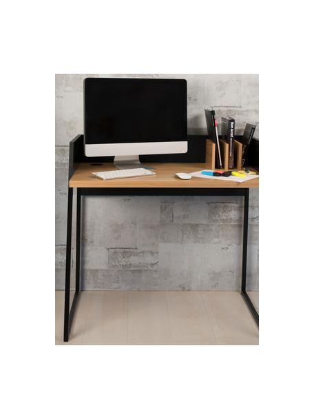 Kleiner Schreibtisch Camille mit Ablage, Beine: Metall, lackiert, Eichenholz, Schwarz, B 90 x T 60 cm