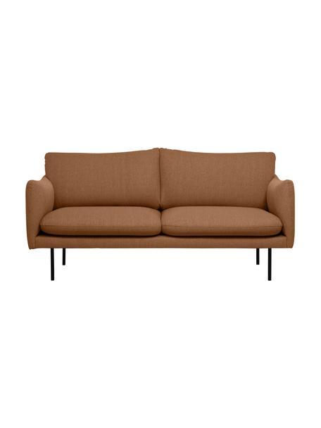 Bank Moby (2-zits) in Nougat met metalen poten, Bekleding: polyester, Frame: massief grenenhout, Poten: gepoedercoat metaal, Geweven stof nougatkleurig, 170 x 95 cm