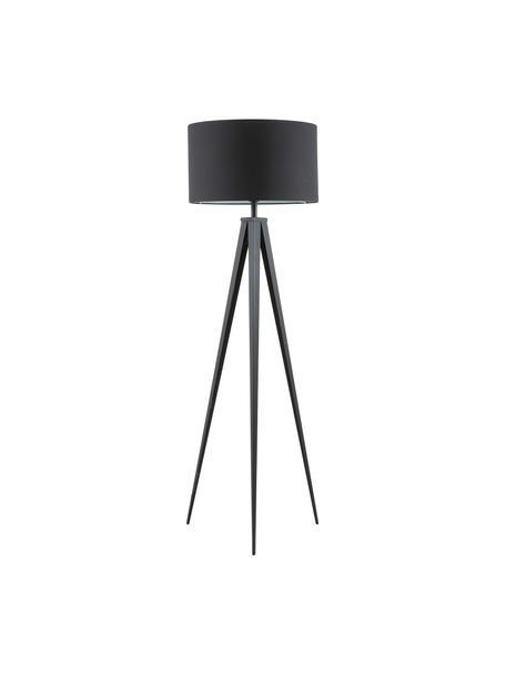 Lámpara de pie trípode Jake, Pantalla: mezcla de algodón, Cable: plástico, Negro, Ø 50 x Al 154 cm