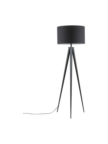 Lampada da terra con base in metallo Jake, Paralume: tessuto, Base della lampada: metallo verniciato a polv, Paralume: nero Base lampada: nero opaco, Ø 50 x Alt. 154 cm