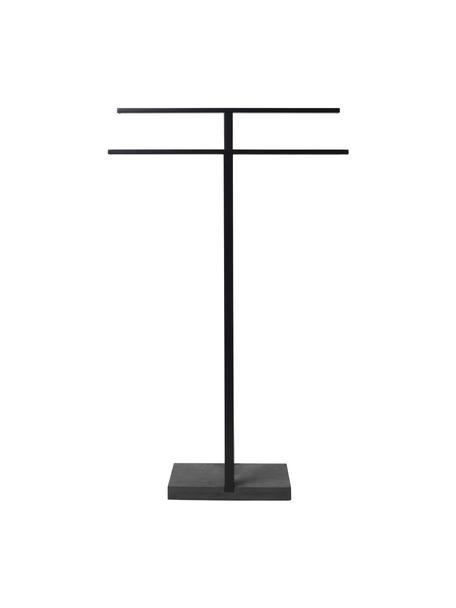 Handdoekenhouder Menoto van metaal, Houder: gecoat roestvrij staal, Voetstuk: kunststeen, Zwart, 50 x 86 cm