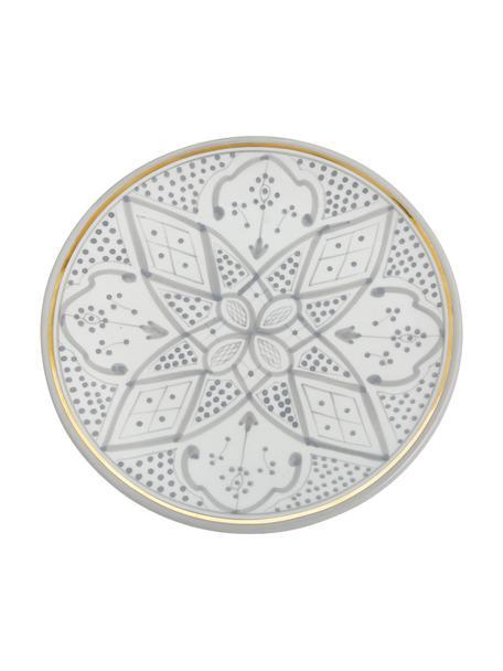 Handgemachter marokkanischer Speiseteller Assiette mit Goldrand, Keramik, Hellgrau, Cremefarben, Gold, Ø 26 x H 2 cm