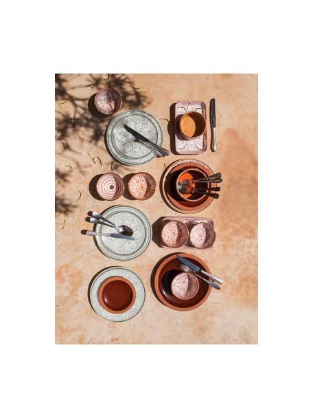 Handgemaakt Marokkaans dinerbord Assiette met goudkleurige rand, Keramiek, Lichtgrijs, crèmekleurig, goudkleurig, Ø 26 x H 2 cm