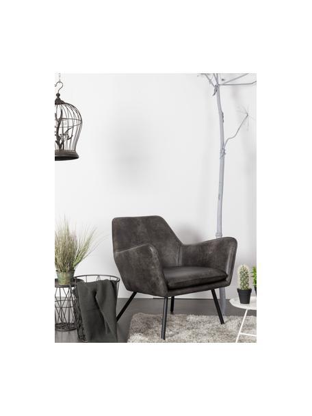 Sillón de cuero sintético Bon, estilo industrial, Tapizado: cuero sintético (64%poli, Patas: metal pintado, Cuero sintético gris oscuro, An 80 x F 76 cm