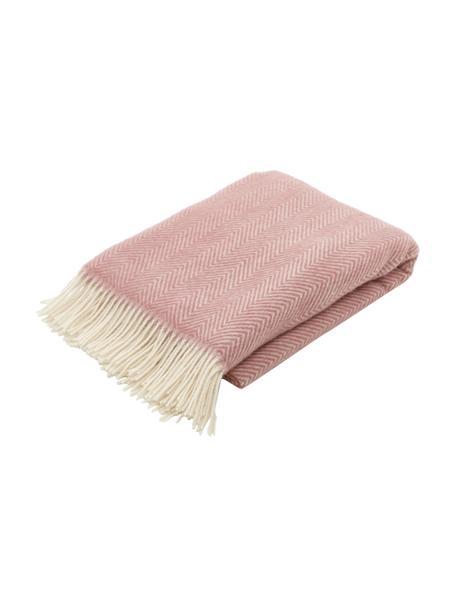Coperta in lana color rosa con motivo a spina di pesce e frange Triol-Mona, 100% lana, Rosa, Larg. 140 x Lung. 200 cm