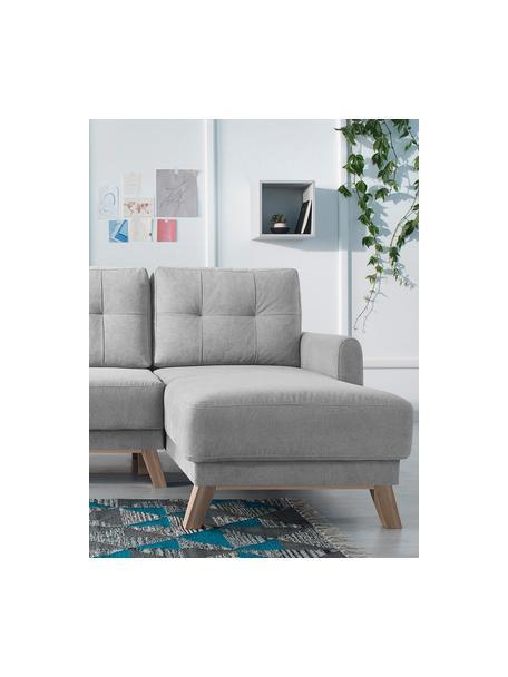 Sofá cama rinconero de terciopelo Balio (4plazas), con espacio de almacenamiento, Tapizado: 100%terciopelo de poliés, Patas: madera, Terciopelo gris claro, An 234 x F 164 cm