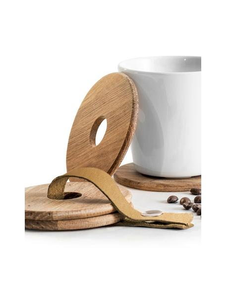 Holz-Untersetzer Strap mit Lederband, 4 Stück, Untersetzer: Eichenholz, Eichenholz, Braun, Ø 9 x H 1 cm