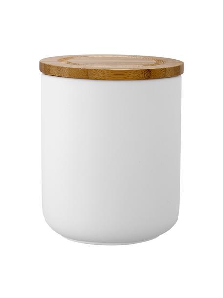Opbergpot Stak, verschillende formaten, Pot: keramiek, Deksel: bamboehout, Wit, bamboehoutkleurig, Ø 10 x H 13 cm
