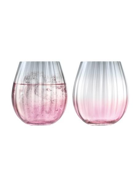 Vasos artesanales Dusk, 2uds., Vidrio, Rosa, gris, Ø 9 x Al 10 cm