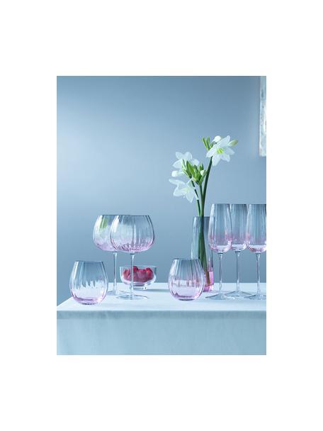 Handgemaakte waterglazen Dusk met kleurverloop, 2 stuks, Glas, Roze, grijs, Ø 9 x H 10 cm