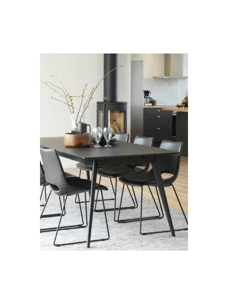 Tavolo da pranzo nero Yumi, Piano d'appoggio: pannello di fibra a media, Gambe: albero della gomma massel, Nero opaco, Larg. 190 x Prof. 90 cm