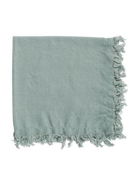 Stoffen servetten Nalia met franjes, 2 stuks, 100% katoen, Saliegroen, 35 x 35 cm