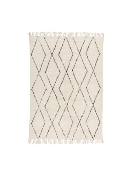 Alfombra artesanal de algodón con flecos Bina, estilo boho, 100%algodón, Beige, negro, An 120 x L 180 cm (Tamaño S)