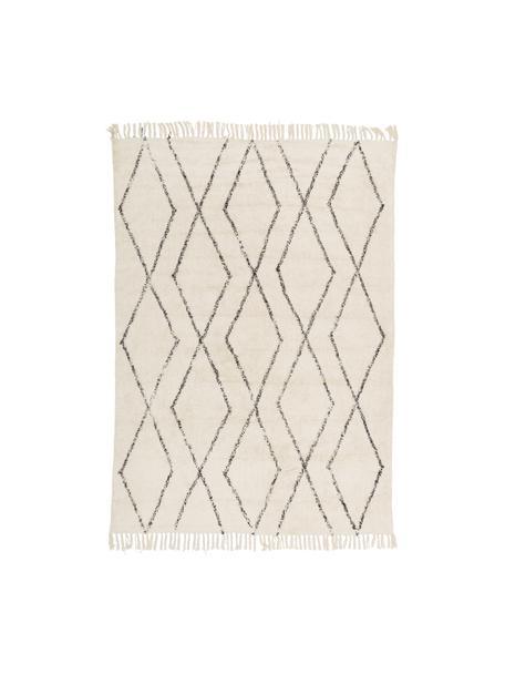 Handgetuft katoenen vloerkleed Bina met ruitjesmotief en franjes, 100% katoen, Beige, zwart, B 120 x L 180 cm (maat S)
