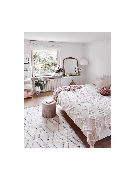Handgetuft katoenen vloerkleed Bina met ruitjesmotief, 100% katoen, Beige, zwart, B 120 x L 180 cm (maat S)
