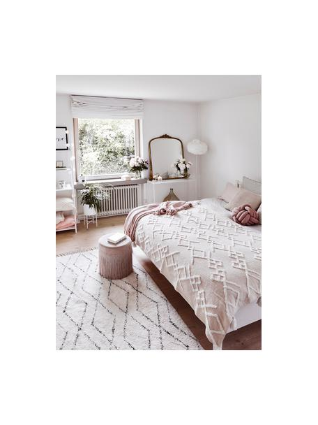 Ręcznie tuftowany dywan z bawełny z frędzlami Bina, 100% bawełna, Beżowy, czarny, S 120 x D 180 cm (Rozmiar S)