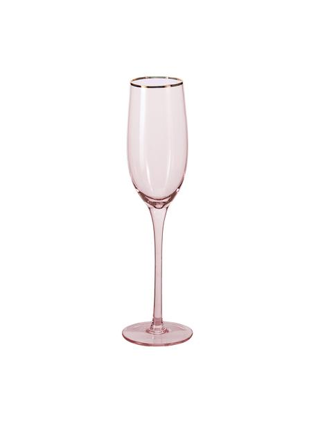 Kieliszek do szampana Chloe, 4 szt., Szkło, Brzoskwiniowy, Ø 7 x W 25 cm