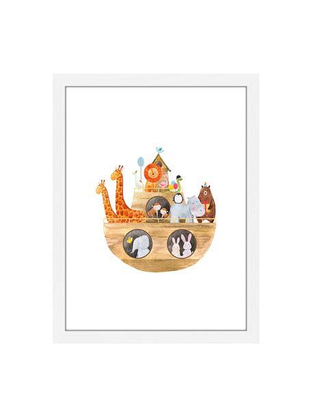 Stampa digitale incorniciata Arche Noah, Immagine: stampa digitale su carta,, Cornice: legno, verniciato, Bianco, multicolore, Larg. 33 x Alt. 43 cm