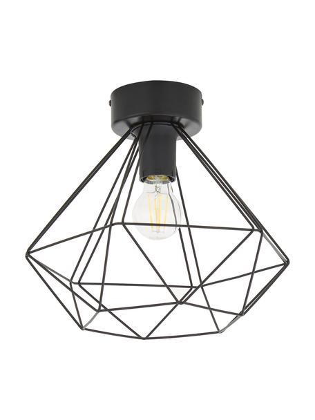 Plafondlamp Tarbes in industrieel design, Baldakijn: staal, Zwart, Ø 33 x H 28 cm