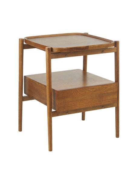 Comodino in legno di quercia Libby, Ripiano: legno di quercia impialla, Marrone scuro, Larg. 49 x Alt. 60 cm