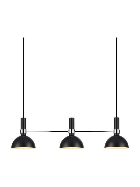 Grote hanglamp Larry, Zwart, chroomkleurig, 100 x 24 cm