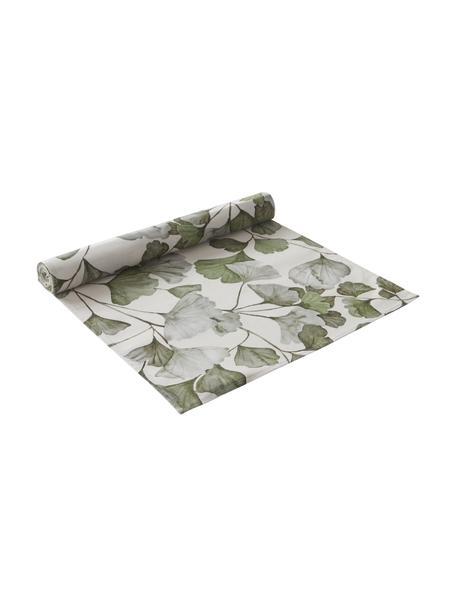 Katoenen tafelloper Gigi met ginkgo bladmotief, 100% katoen, Beige, groen, 40 x 140 cm